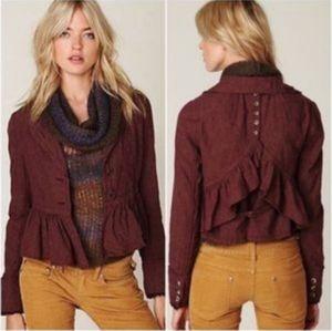 Free People Burgundy Jacket